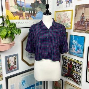 Vintage Cropped Button Down Shirt